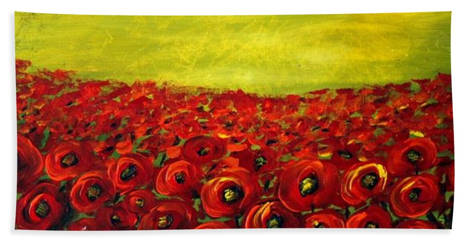 Flowers Bath Sheet featuring the painting Red Poppies Field by Luiza Vizoli