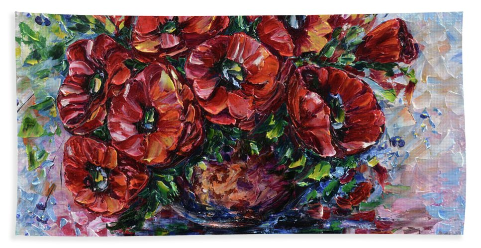 Lena-owens Bath Sheet featuring the painting Red Poppies In A Vase by OLena Art Lena Owens