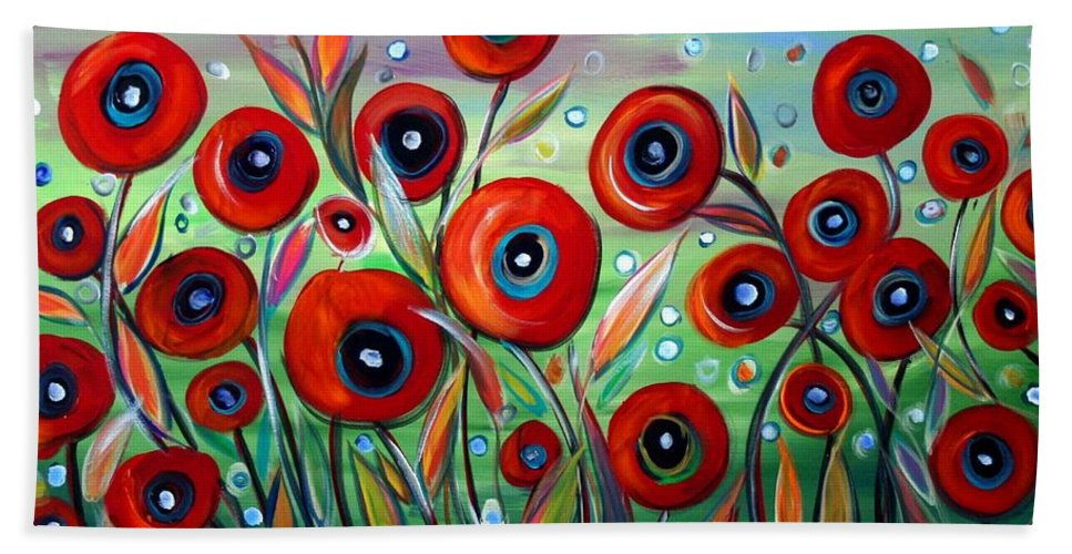 Flowers Hand Towel featuring the painting Red Poppies In Grass by Luiza Vizoli