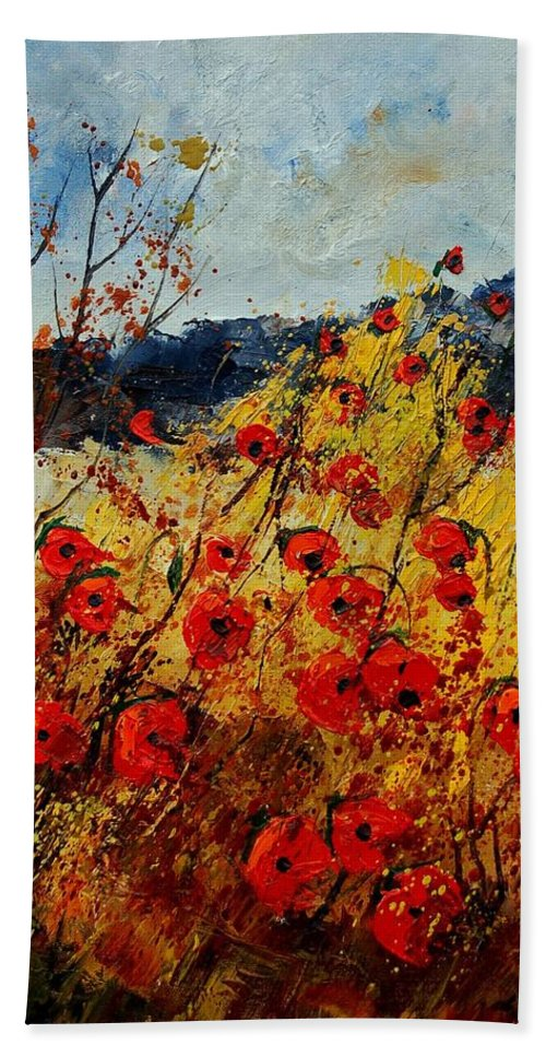 Poppies Hand Towel featuring the painting Red Poppies In Provence by Pol Ledent