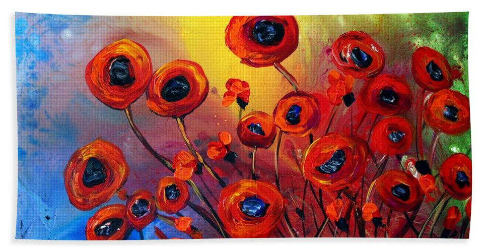 Flowers Hand Towel featuring the painting Red Poppies In Rain by Luiza Vizoli