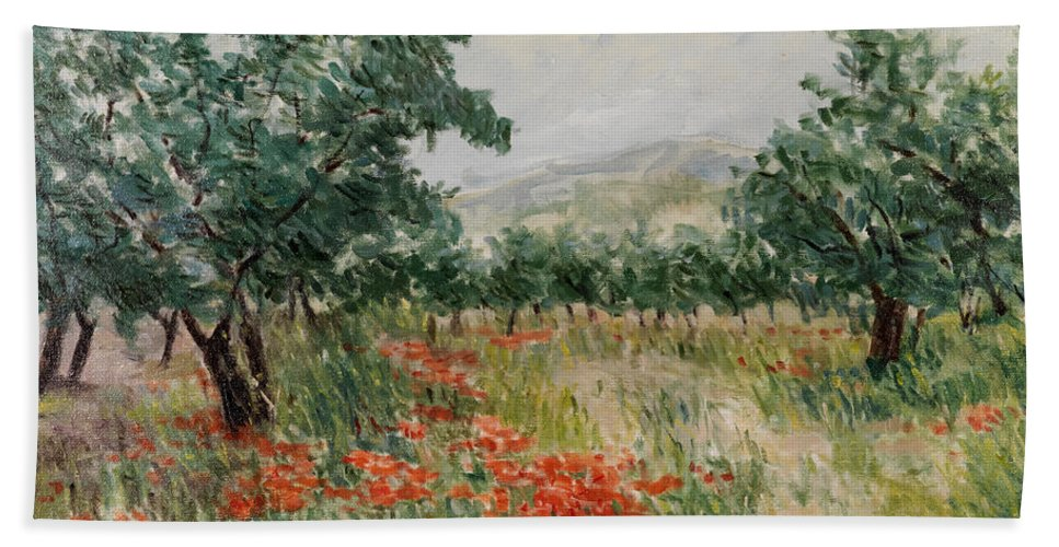 Olive Trees Hand Towel featuring the painting Red Poppies In The Olive Garden by Gonul Engin YILMAZ