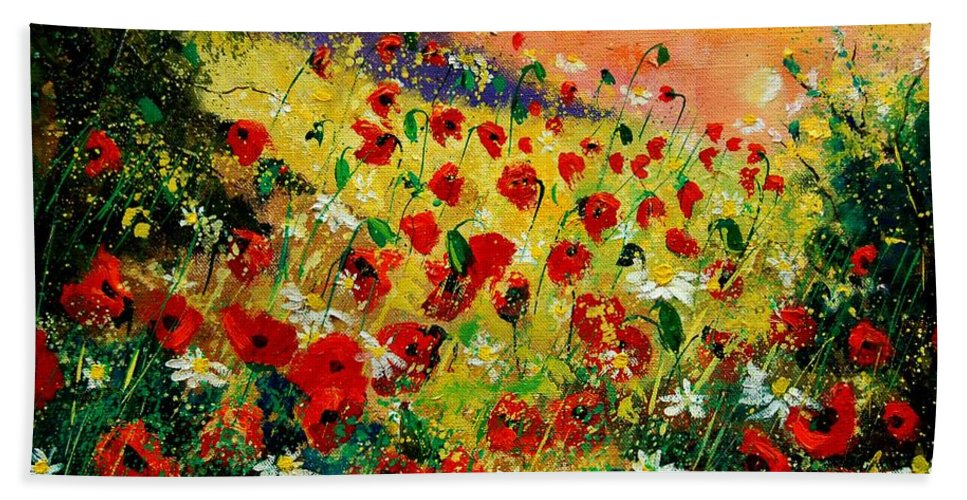 Tree Hand Towel featuring the painting Red Poppies by Pol Ledent