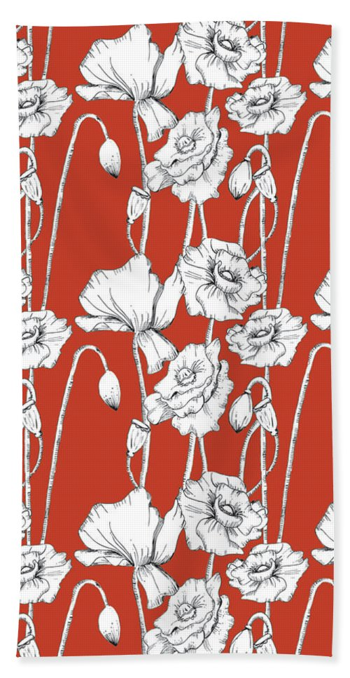 Red Bath Sheet featuring the digital art Red Poppies by Sandra Wallace