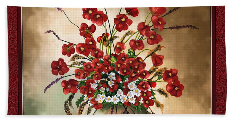 Red Poppies Hand Towel featuring the digital art Red Poppies by Susan Kinney