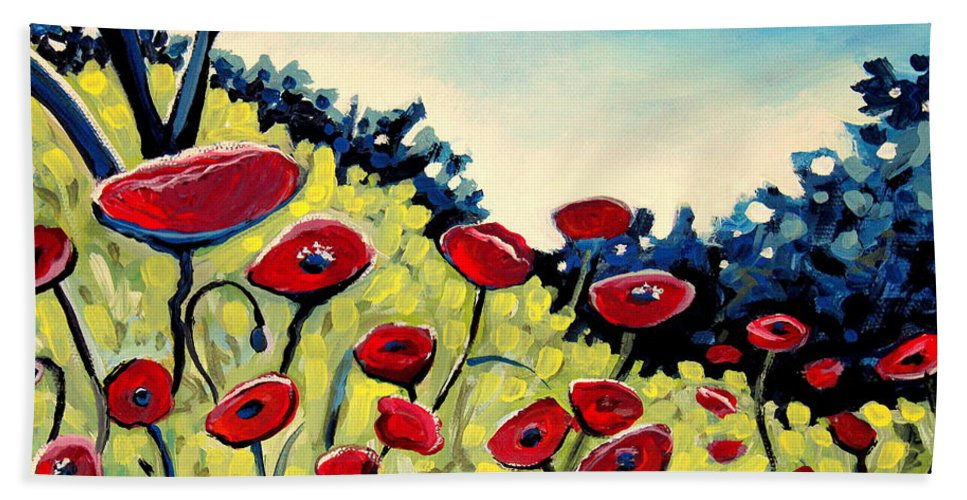 Poppies Hand Towel featuring the painting Red Poppies Under A Blue Sky by Elizabeth Robinette Tyndall