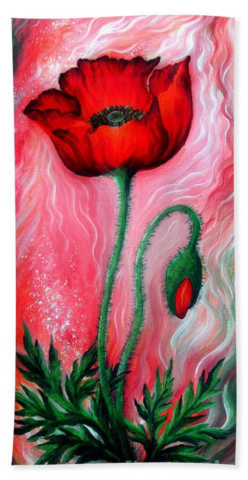 Poppy Hand Towel featuring the painting Red Poppy Flower. Pink Sunset by Sofia Metal Queen