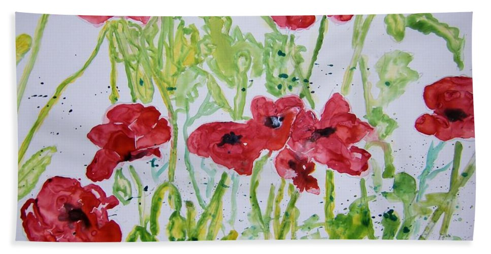 Poppy Hand Towel featuring the painting Red Poppy Flowers by Derek Mccrea