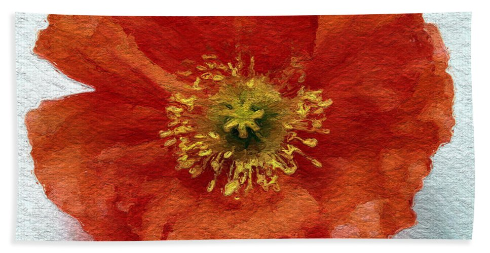 Poppy Bath Towel featuring the mixed media Red Poppy by Linda Woods
