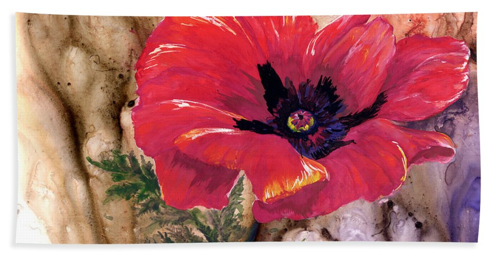 Flower Bath Sheet featuring the painting Red Poppy by Sherry Shipley