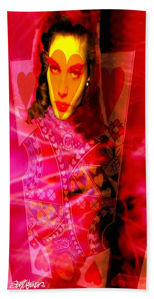 Lauren Bacall Hand Towel featuring the mixed media Red Queen of Hearts by Seth Weaver