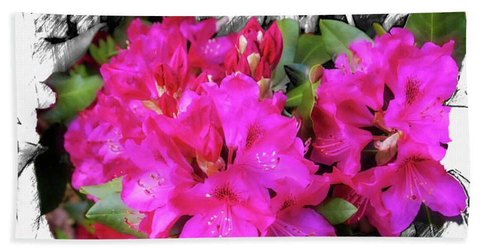 Flowers & Plants Bath Sheet featuring the digital art Red Rhododendron Flowers by Rusty R Smith