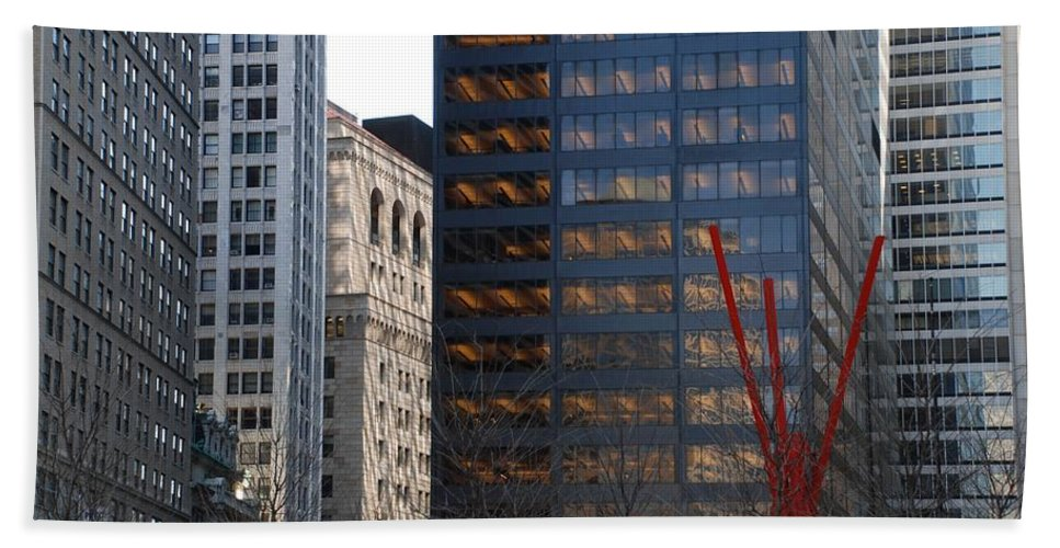 Street Scene Hand Towel featuring the photograph RED by Rob Hans