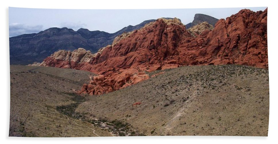 Red Rock Canyon Hand Towel featuring the photograph Red Rock Canyon 1 by Anita Burgermeister