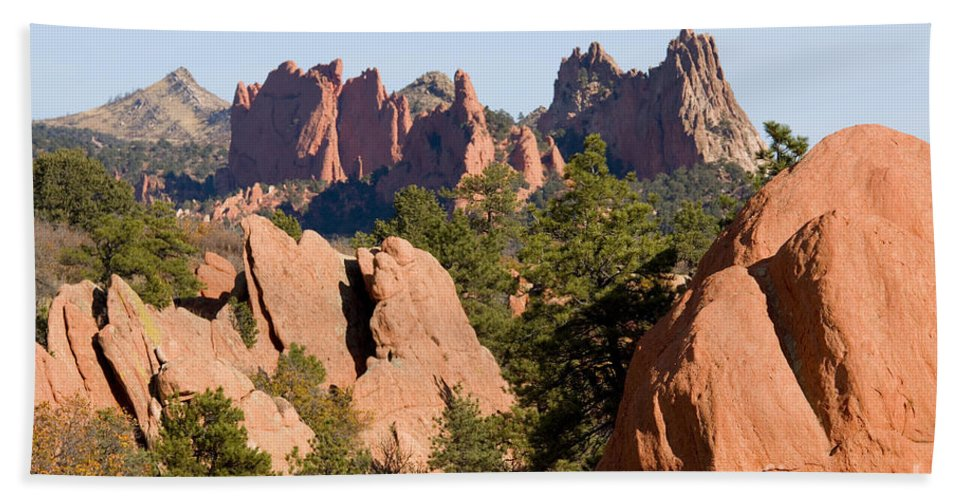 Garden Of The Gods Bath Sheet featuring the photograph Red Rock Canyon And Garden Of The Gods by Steve Krull