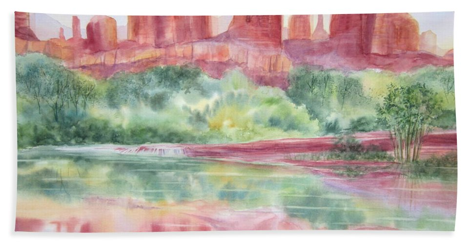 Red Rock Canyon Bath Sheet featuring the painting Red Rock Canyon by Deborah Ronglien