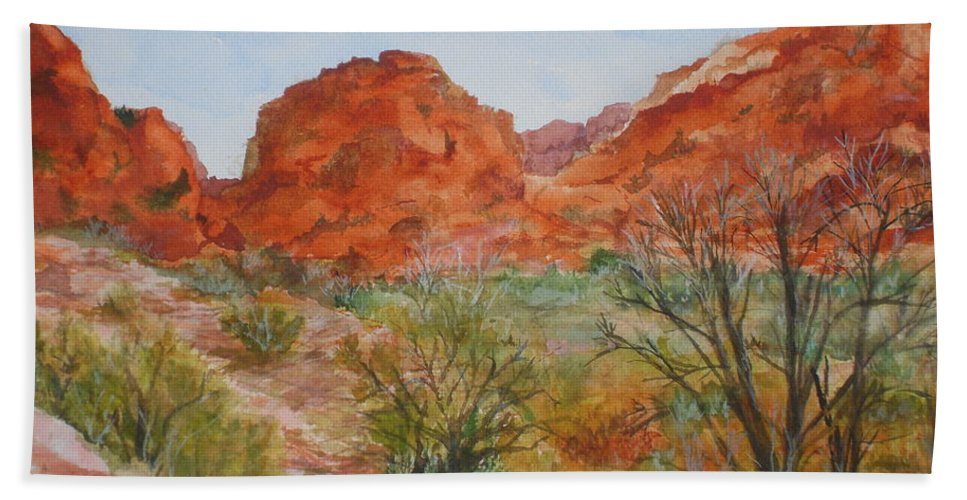 Red Rock Hand Towel featuring the painting Red Rock Canyon by Vicki Housel