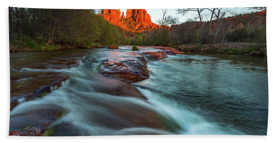 Sedona Hand Towel featuring the photograph Red Rock Cascade by Darren White