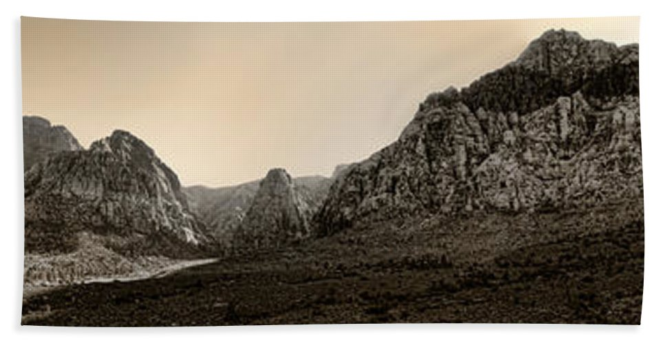 Red Hand Towel featuring the photograph Red Rock Panorama - Anselized by Ricky Barnard