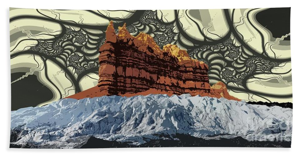 Glacier Art Bath Towel featuring the digital art Red Rock White Ice by Ron Bissett