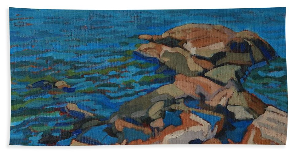 Killarney Bath Sheet featuring the painting Red Rocks And Pooled Water by Phil Chadwick