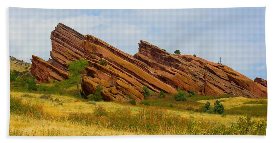 Red Rocks Bath Sheet featuring the photograph Red Rocks by James BO Insogna