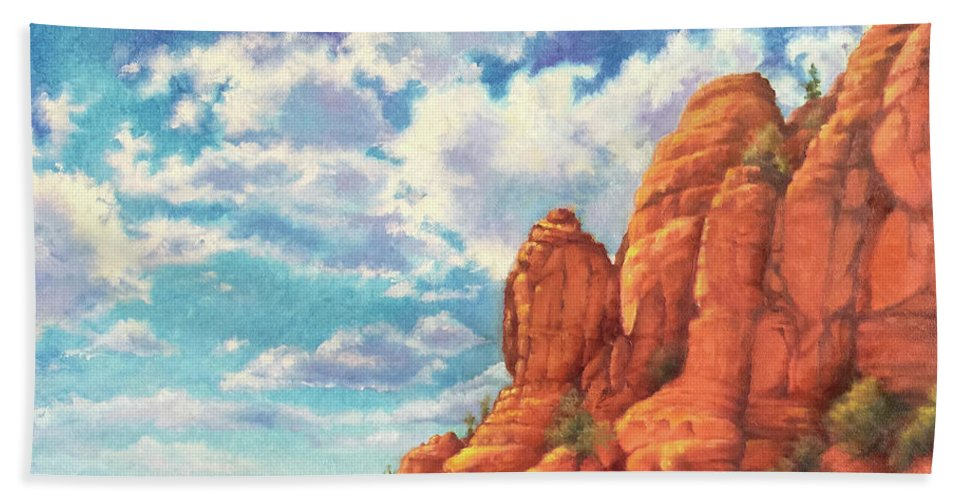 Sedona Bath Towel featuring the painting Red Rocks by Teri Rosario