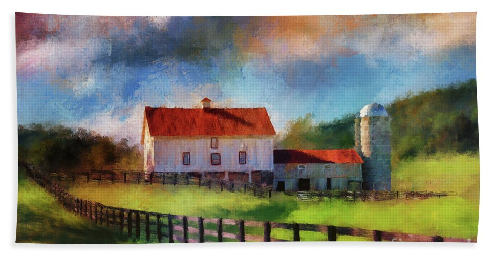 Barn Hand Towel featuring the digital art Red Roof Barn by Lois Bryan