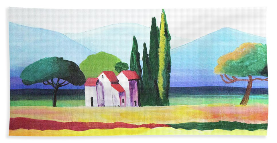 Landscape Bath Sheet featuring the painting Red Roof Pastoral by John Moon