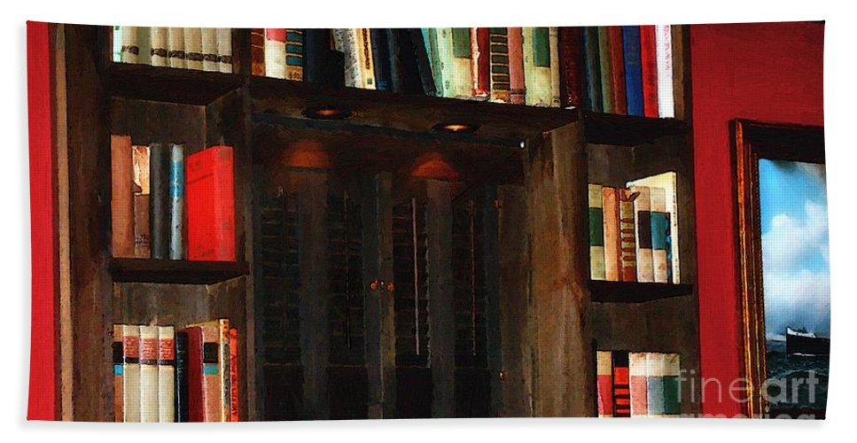 Books Hand Towel featuring the painting Red Room by RC DeWinter