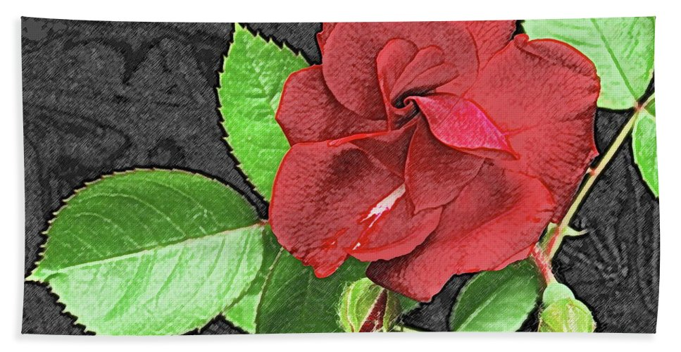 Rose Bath Sheet featuring the photograph Red Rose For My Lady by Michael Peychich