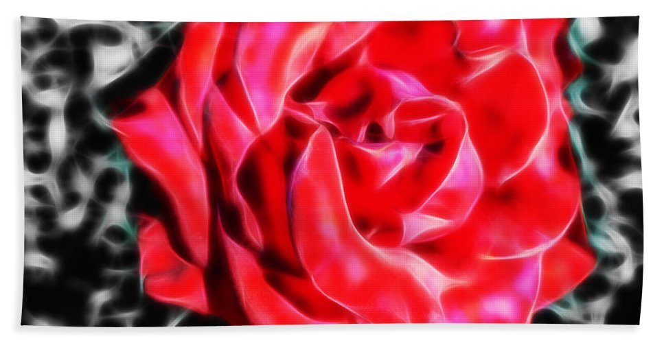Rose Hand Towel featuring the photograph Red Rose Fractal by Tracey Everington