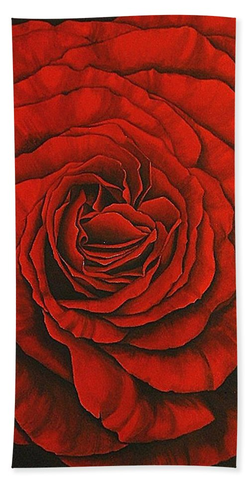 Red Bath Towel featuring the painting Red Rose II by Rowena Finn
