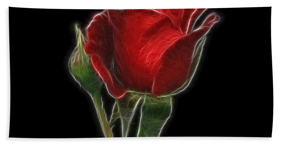 Flower Bath Sheet featuring the photograph Red Rose II by Sandy Keeton