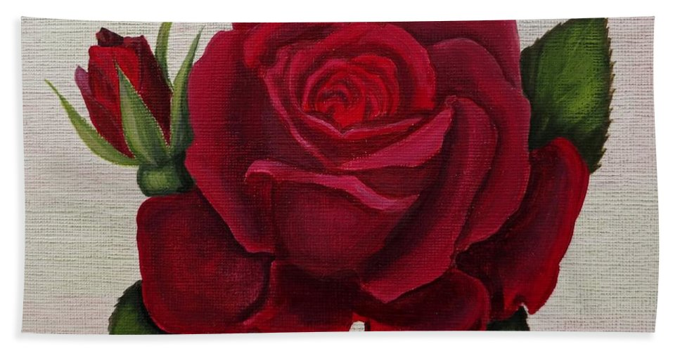Rose Art Hand Towel featuring the painting Red Rose by Zina Stromberg