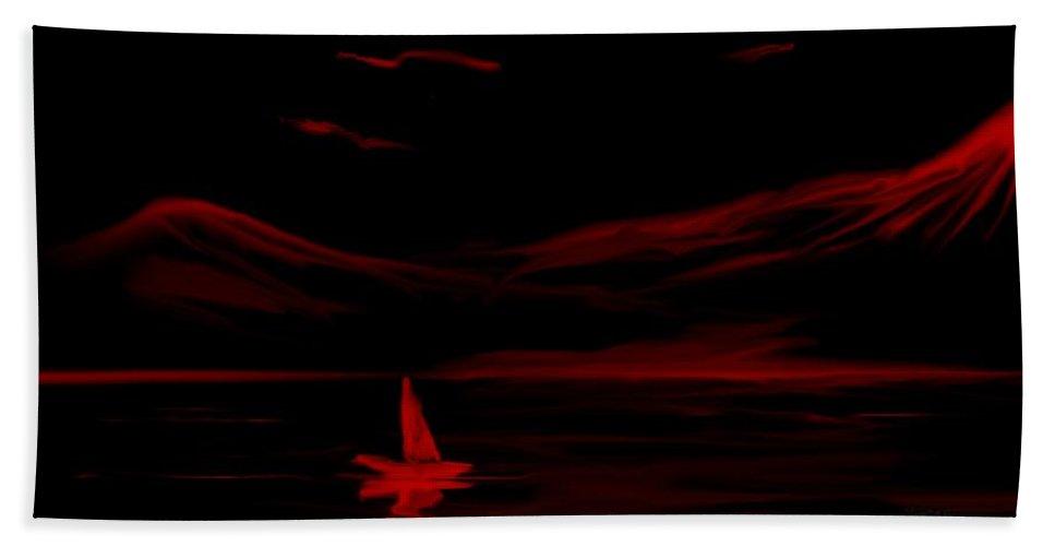 Digital Art Hand Towel featuring the digital art Red Sail by David Lane