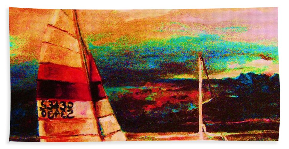 Sailing Hand Towel featuring the painting Red Sails In The Sunset by Carole Spandau