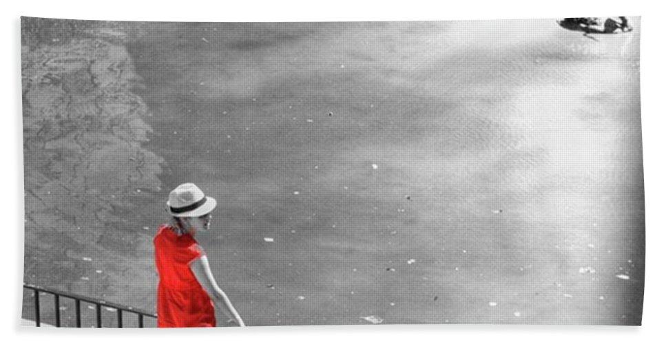 Palmademallorca Bath Towel featuring the photograph Red Shirt, Black Swanla Seu, Palma De by John Edwards