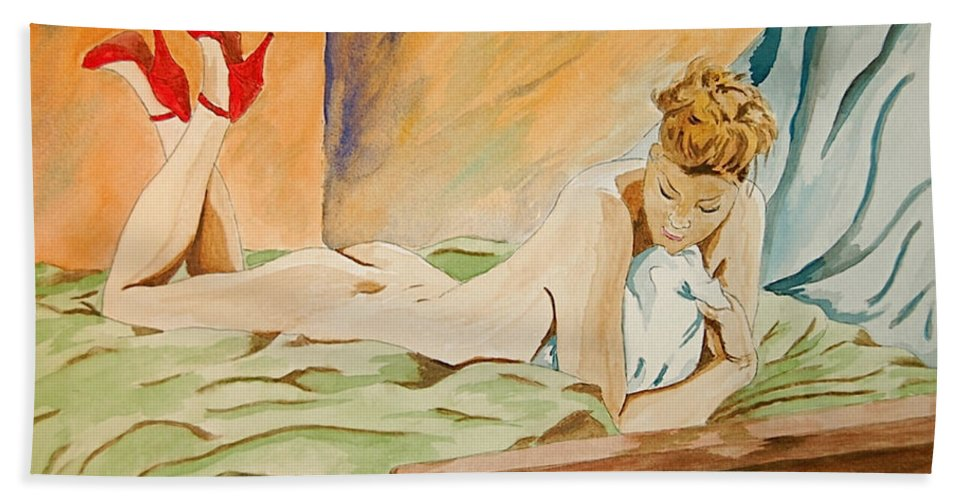 Nude Hand Towel featuring the painting Red Shoes by Herschel Fall