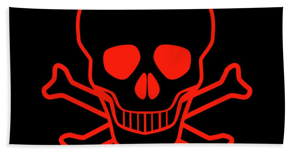 Danger Bath Sheet featuring the digital art Red Skull And Crossbones by Bigalbaloo Stock