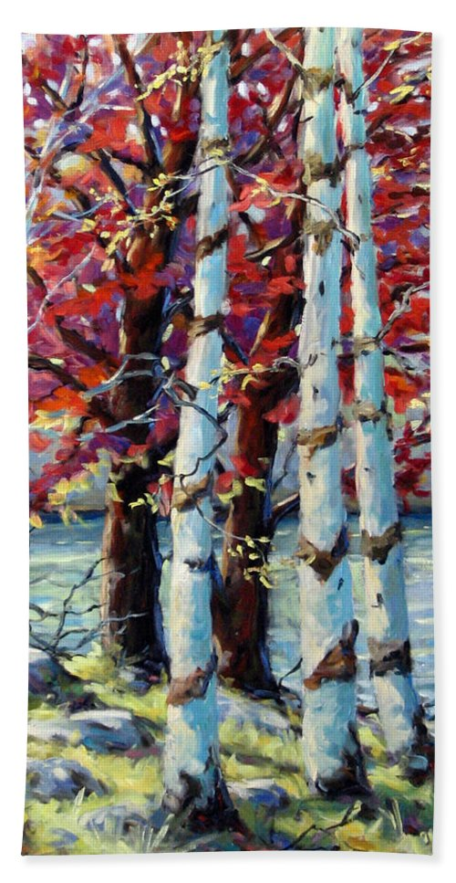 Birches Hand Towel featuring the painting Red Splash by Richard T Pranke