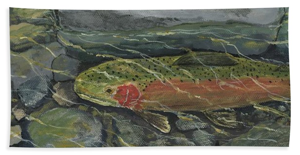 Fish Hand Towel featuring the painting Red Steelhead by Sara Stevenson