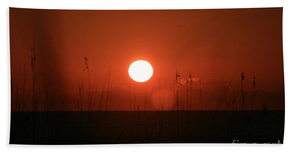 Sunset Bath Sheet featuring the photograph Red Sunset And Grasses by Nadine Rippelmeyer