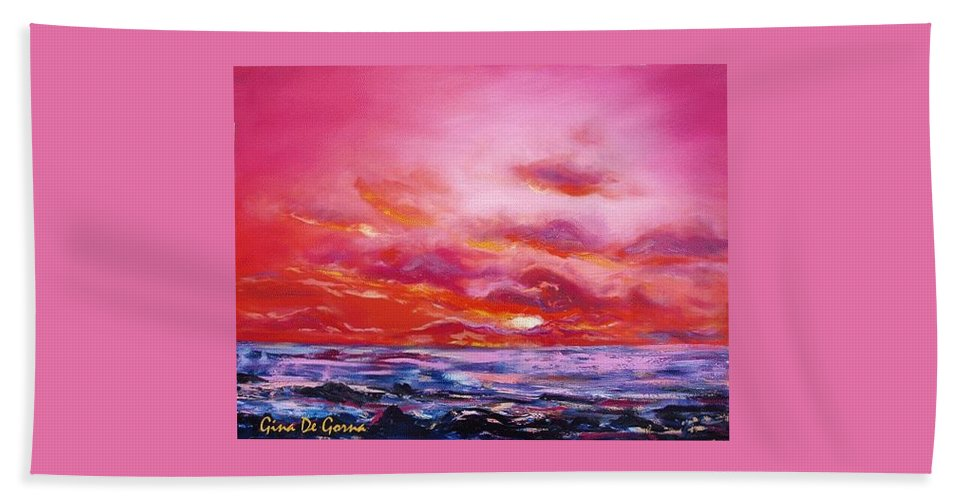 Red Bath Towel featuring the painting Red Sunset by Gina De Gorna
