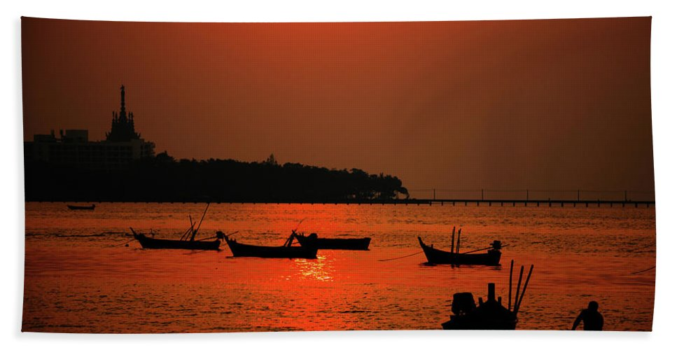 Red Hand Towel featuring the photograph Red Sunset by Oleg Ver