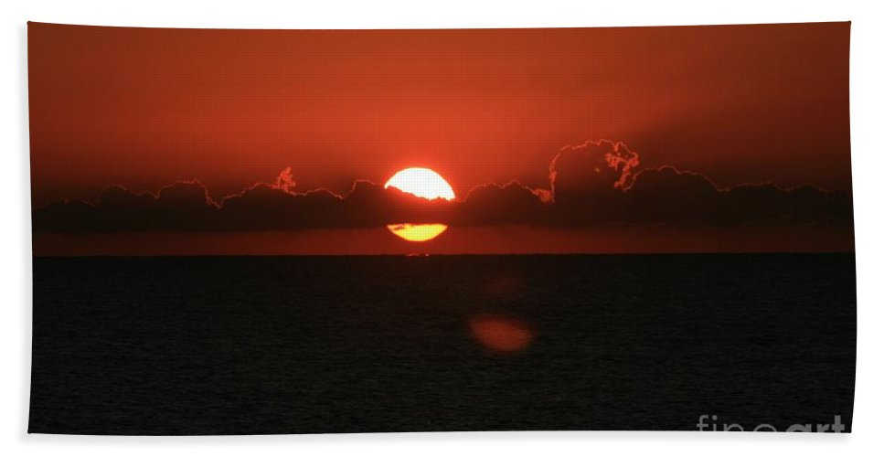 Sunset Bath Sheet featuring the photograph Red Sunset Over The Atlantic by Nadine Rippelmeyer