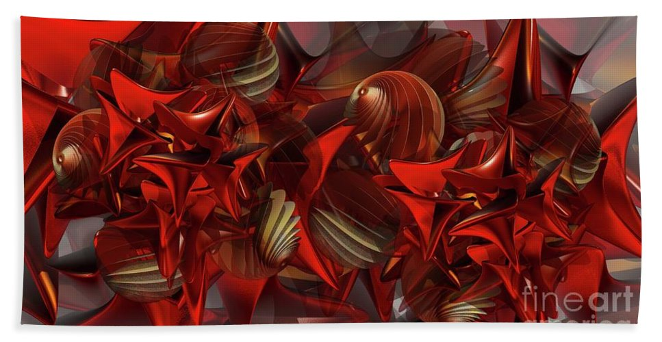 Abstract Hand Towel featuring the digital art Red Swarm by Ron Bissett