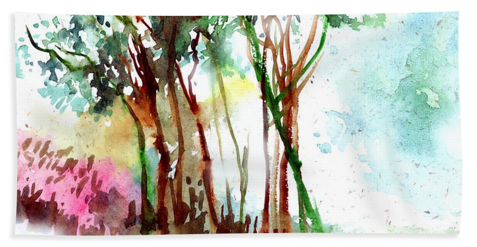 Landscape Bath Towel featuring the painting Red Trees by Anil Nene