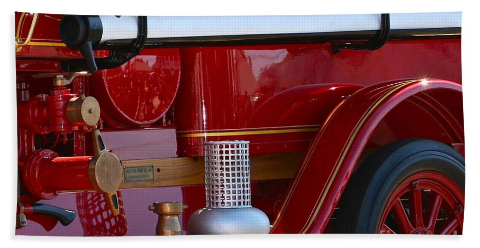 Fire Truck Bath Towel featuring the photograph Red Truck by Rick Monyahan