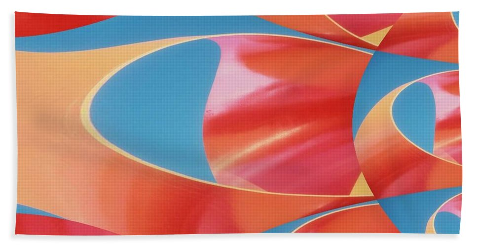 Tubes Bath Sheet featuring the digital art Red Tubes by Tim Allen